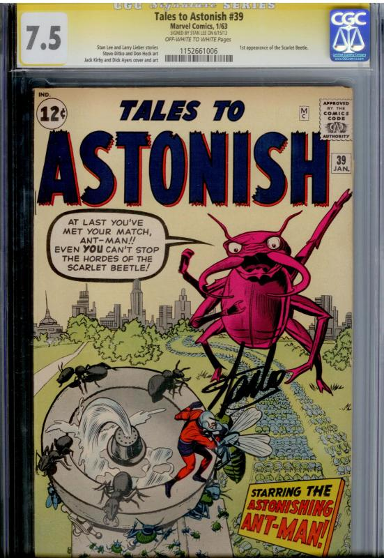Tales To Astonish #39 CGC 7.5 SS  SIGNED BY STAN LEE  Ant-man