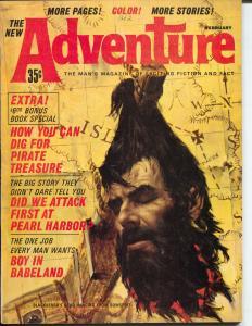 Adventure 2/1964-brutal cover-decapitation-Vietnam-WWII-Hitler-Pearl Harbor-VF-