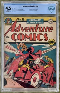 Adventure Comics #80 (1942) CBCS 4.5 -- White pgs; Simon & Kirby Manhunter; CGC