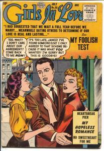 Girls In Love #55 1956-Quality-love triangle-Heartbreak Pier-lingerie-VG+