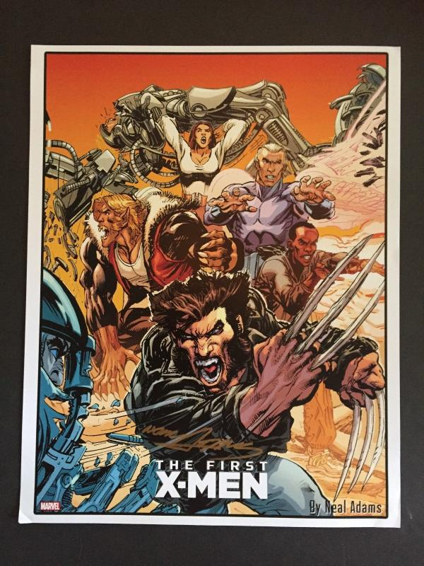 NEAL ADAMS SIGNED-THE FIRST X-MEN LAMENATED ART WORK-WONDER-CON HOLLYWOOD