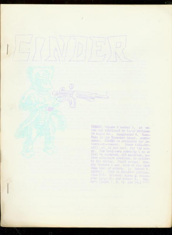 CINDER-RARE SCIENCE FICTION FANZINE #7-MENTIONS DON THO FN