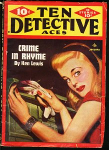 TEN DETECTIVE ACES JAN 1946 PULP-SPICY COVER-CRIME FICTION-DAYH KEENE VG