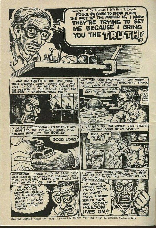 BIG ASS COMICS #2 / 1st Printing / September, 1971 / 28 Pages / Rip Off Press /