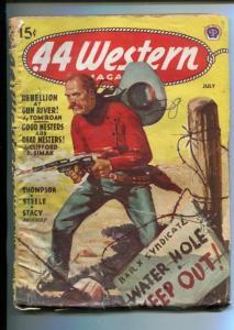 .44 WESTERN-07/1945-WESTERN PULP THRILLS-WATERHOLE GUNFIGHT COVER-RARE PULP-vg