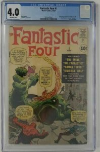 1961 Marvel ~ Fantastic Four #1 ~ CGC 4.0 (VG), Origin of The Fantastic Four