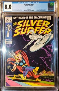 Silver Surfer #4 (Marvel 1969) Low Production Thor Loki CGC 8.0 VF WHITE Pages