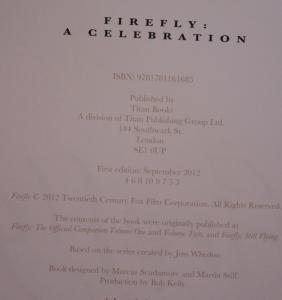 FIREFLY - A CELEBRATION, HC, 1st Edition 3rd print, 2012, Joss Whedon, Serenity