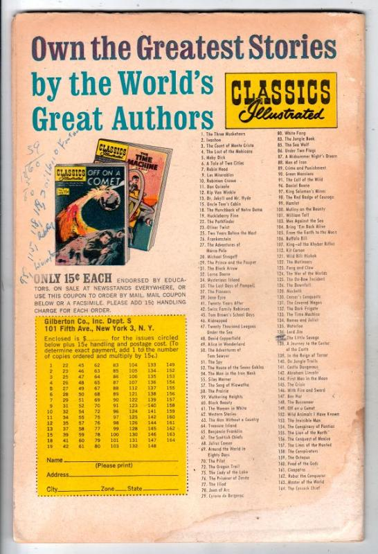 Classics Illustrated #164 (Oct-61) VG Affordable-Grade