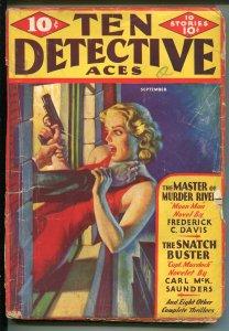 Ten Detective Aces  9/1935-Ace-female strangulation cover-pulp-Moon Man-G