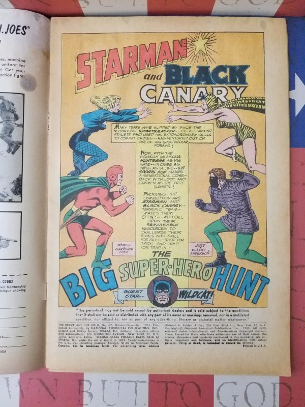 BRAVE and the BOLD #62 1965 KEY ISSUE Huntress Wildcat Black Canary Sportsmaster
