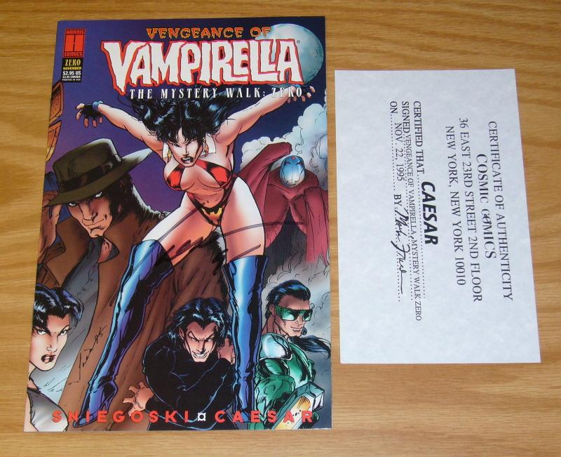 Vengeance of Vampirella #0 VF/NM signed by caesar with COA - harris comics 1995