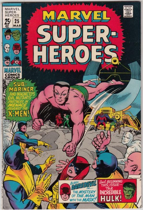 Marvel Super-Heroes #25 (Mar-70) VF/NM High-Grade Daredevil, X-Men, Hulk