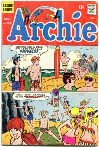 Archie #193 1969-Betty-Veronica-Jughead- surfing surfboard cover G/VG