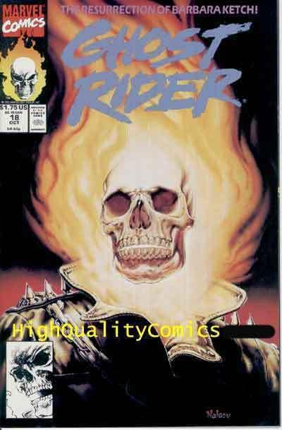 GHOST RIDER #18, NM, Nelson, Mark Texeira, Blazing Skull, 1990, Flaming