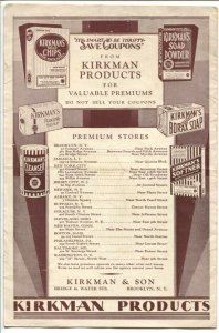 Kirkman Products Premiums Catalog 1920's-reddem coupons from Kirkman Soaps-G/VG