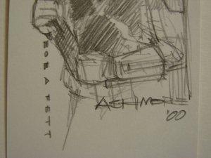 STAR WARS BRIAN ASHMORE ARTIST SKETCH W/ AUTOGRAPH BOBA FETT THE MANDALORIAN!!