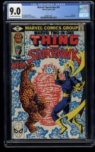 Marvel Two-In-One #61 CGC VF/NM 9.0 Off White to White 1st HER! Starhawk! Comics