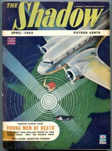 The Shadow Pulp April 1943- Young Men of Death- Great Airplane cover VG/F
