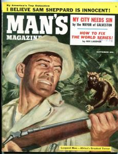 Man's Magazine October 1955-LEOPARD MEN ATTACK HUNTER VF