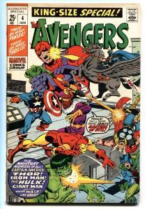 AVENGERS ANNUAL #4 comic book-JACK KIRBY THOR-IRON MAN-HULK VF-