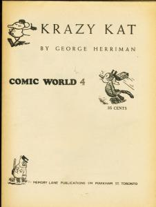 CAPTAIN GEORGES COMIC WORLD-REPRINTS-#4-KRAZY KAT FN