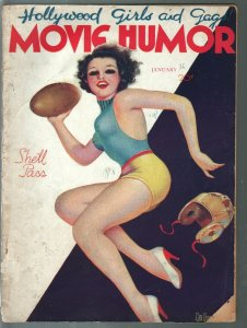 Movie Humor 1/1936-George Quintana cover-cheesecake-swimsuits-show girls-G