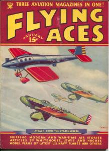 Flying Aces 1/1935-Philp Strange-hero pulp-Donald E Keyhoe-Whitehouse-FN-