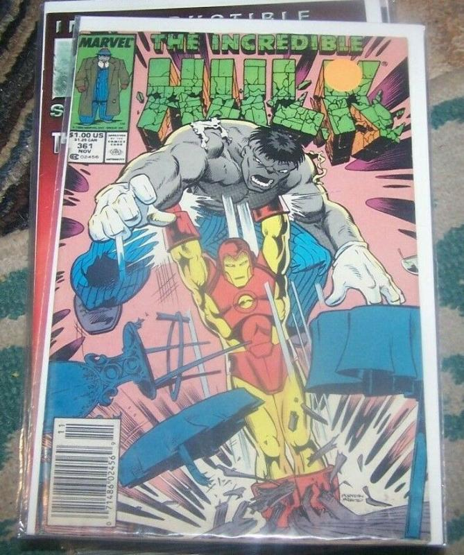 Incredible Hulk  # 361 Nov 1989 Marvel joe fixit grey hulk +ironman vegas