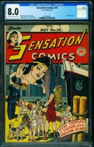 Sensation Comics #29 CGC 8.0 1944- WONDER WOMAN-New York cover-0315593001