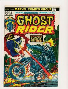 Marvel Comics Supernatural Superhero GHOST RIDER #5,  1974 VG+ (PF469)