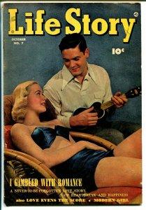 Life Story #7 1949-Fawcett-ukulele-swimsuit-Gregory Peck-VG+