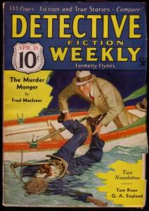 DETECTIVE FICTION WEEKLY 1934 APR 28 DR X STORY PULP VF/NM