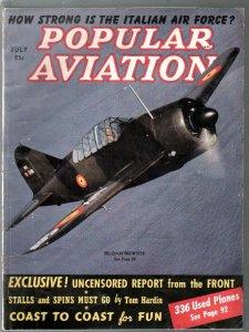 Popular Aviation 7/1940-air war photos-Belgian Brewster cover-Italian Air Force-