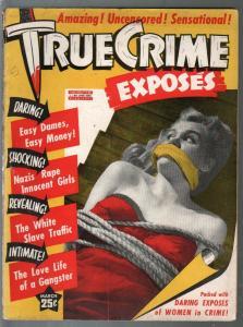 True Crime Exposes #1 -3/1943-1st issue-bound & gagged-gun moll-G/VG