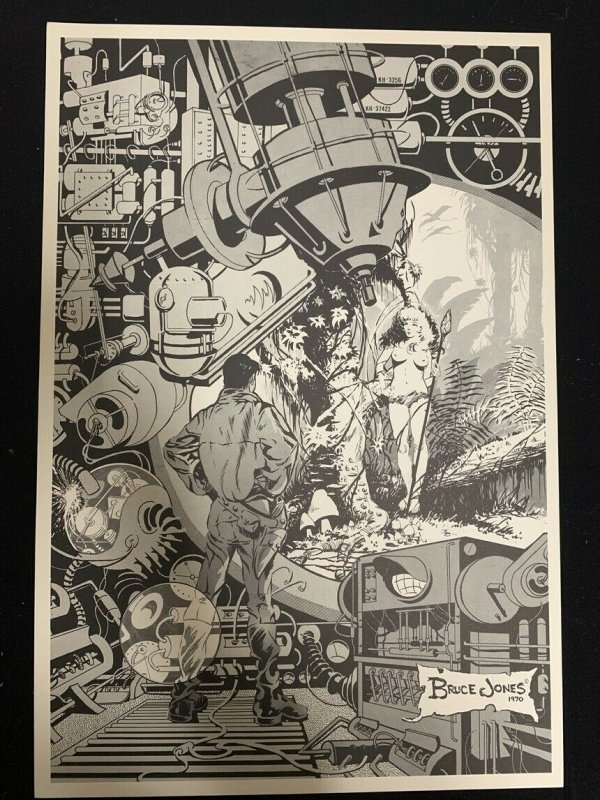 Bruce Jones Original Science Fiction Print 14x21 --1970