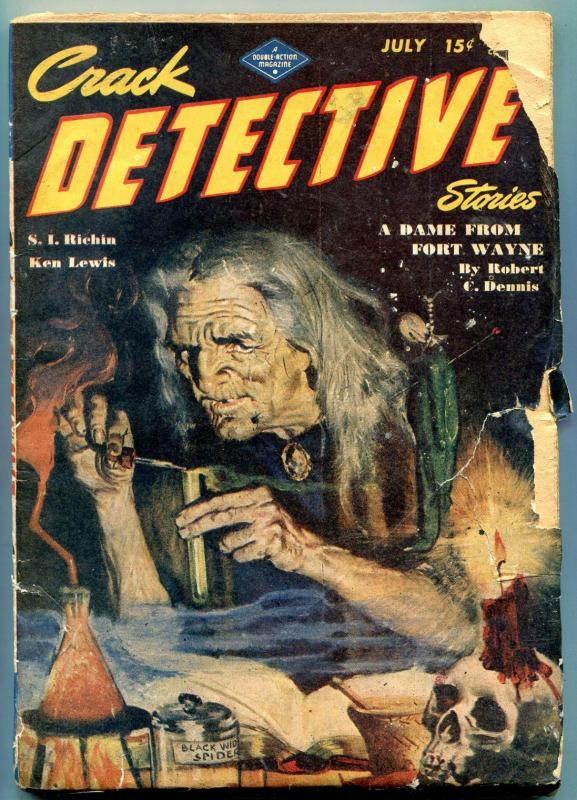 Crack Detective Stories Pulp July 1946- Old Witch cover-