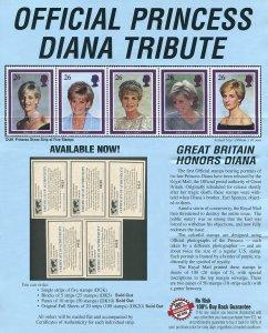 Princess Diana Commemorative 5  Stamp Strip  1997