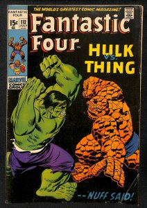Fantastic Four #112 VG/FN 5.0 Hulk Vs Thing! Marvel Comics