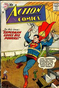 Action #230 1957-DC-parachute cover-Superman-Tommy Tomorrow-G