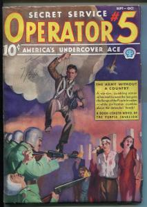 OPERATOR #5 9/1937-POPULAR-ARMY WITHOUT A COUNTRY-FILE COPY-PARACHUTE-vf minus