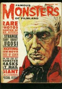 FAMOUS MONSTERS OF FILMLAND #9 1960-PHANTOM OF THE OPERA-GOGOS COVER-LUGOSI G-