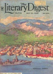Literary Digest 7/21/1934-Honilulu Harbor cover-KKK-historic pix-info-VG