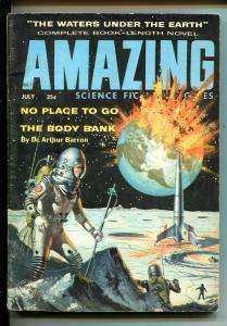 AMAZING STORIES-07/1958-ZIFF-DAVIS-EXPLODING EARTH-BLOCHSCI-FI PULP THRILLS-fn