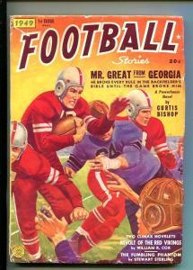 FOOTBALL STORIES-FALL 1949-PULP-THRILLS-CURTIS BISHOP-vg