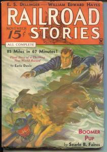 Railroad Stories 11/1934-Munsey-rescue dog-pulp adventure & thrills-FN