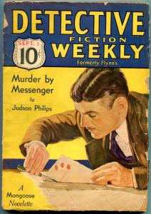 Detective Fiction Weekly Pulp September 3 1932-- Mongoose- Judson Philips G