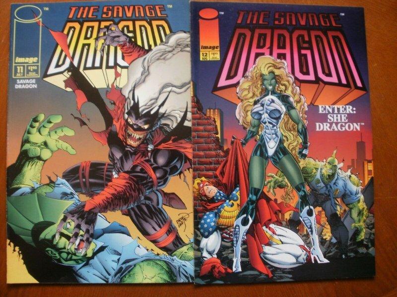 2 Near-Mint Image THE SAVAGE DRAGON #11 & # 12 (1994) Enter: She-Dragon