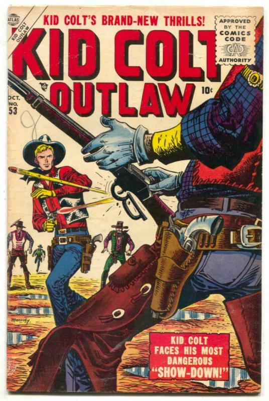 Kid Colt Outlaw #53 1955- Maneely cover- Atlas Western VG/F