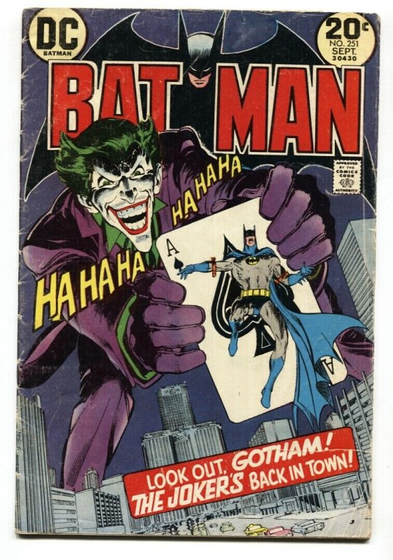 BATMAN #251  Joker Playing Card cover comic book -Neal Adams DC VG-